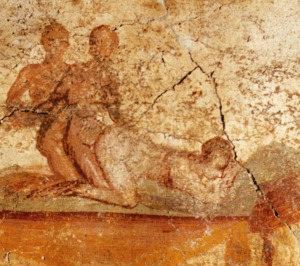 Pompeii fresco of two men and a woman